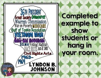 Lyndon B. Johnson (LBJ) Coloring Page and Word Cloud Activity
