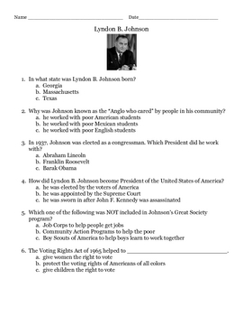 Lyndon B. Johnson (LBJ) Quiz/Worksheet