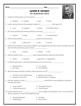 Lyndon B. Johnson Packet: Reading Comprehension, Study Guide & Test