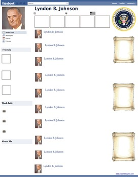 Lyndon B. Johnson Presidential Fakebook Template