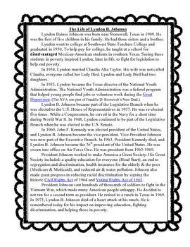 Lyndon B. Johnson Reading Passage, Comprehension Questions & Scoot