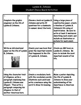 Lyndon B. Johnson - Student Choice Board