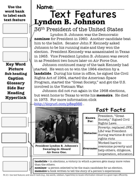 Lyndon B. Johnson Text Features Page
