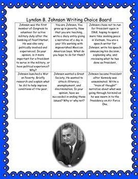 Lyndon B. Johnson Writing Choice Board