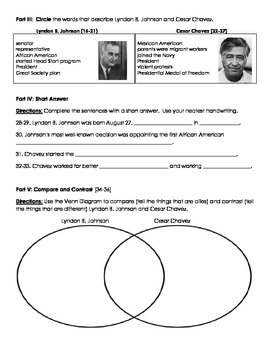 Lyndon B Johnson and Cesar Chavez Assessment