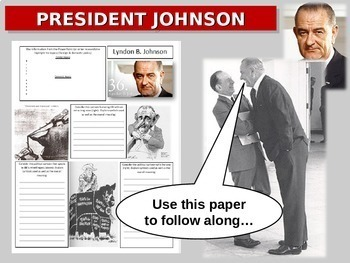 Lyndon Johnson (LBJ): quotes, cartoons, foreign/domestic legacy PPT & handout