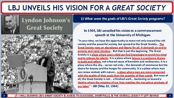 Lyndon Johnson & the Great Society (1964-1968) Activity for U.S. History Classes