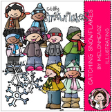 Catching snowflakes clip art - COMBO PACK- by Melonheadz