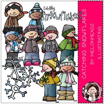 Catching snowflakes clip art - by Melonheadz