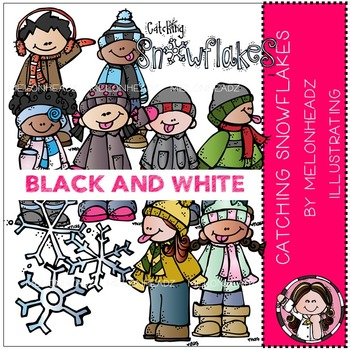 Catching snowflakes clip art - BLACK AND WHITE- by Melonheadz