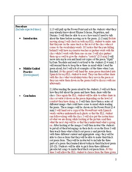 Lyric Poetry Lesson Plan