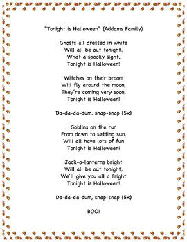 "Lyric Sheet: ""Addams Family"""