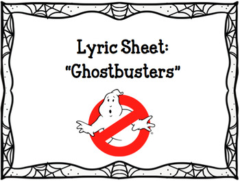 "Lyric Sheet: ""Ghostbusters"""