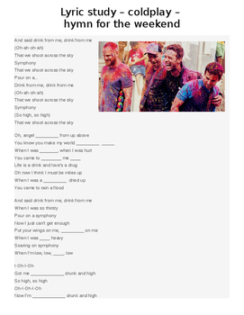 Lyric Study Coldplay Hymn for the Weekend - music lyric fill in