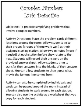 Lyrics Detective: Complex Number Operations