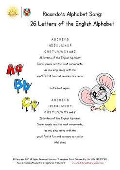Lyrics for ABC Songs with Ricardo Reading Mouse