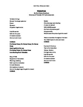 "Lyrics for the historyteachers' song ""Mansa Musa"""
