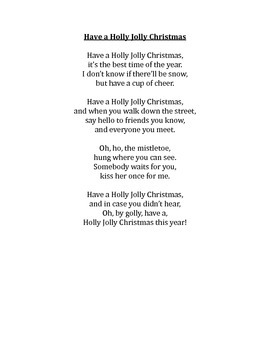 Lyrics to Christmas Holiday Songs