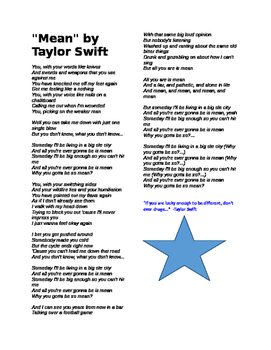 """Lyrics to """"Mean"""" by Taylor Swift"""