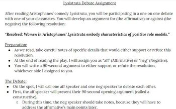 Lysistrata Summative Debate Assignment and Rubric