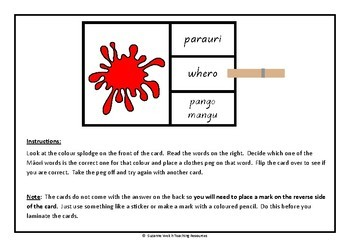 Māori Colours  -  'Clip and Flip' cards.