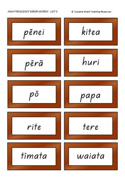 Māori High Frequency Words