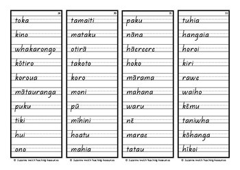 Māori High Frequency Words – Handwriting copy cards