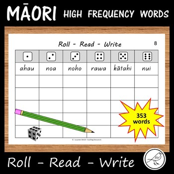 Māori High Frequency Words – 'Roll Read Write' activity