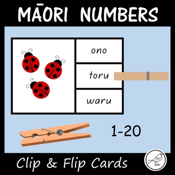 Māori Numbers 1-20  -  'Clip and Flip' cards.