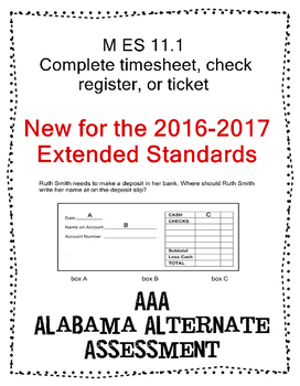 M 11.1 Complete a Time sheet, check register NEW Extended Standards AAA