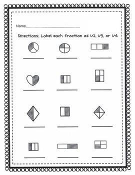 Label Fractions 1/2, 1/3, or 1/4