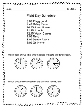 M 6.3 Extended Standards Time Analog Clock to 5 Minutes Ala Alternate Assessment