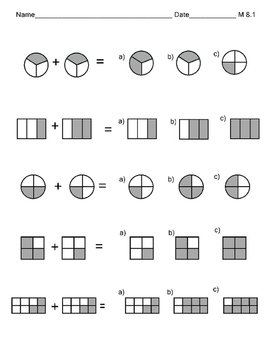 M 8.1 Add Fractions w/Common Denominators Pictures NEW Extended Standards AAA