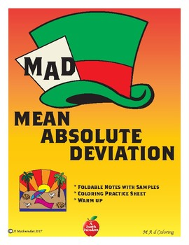 M A D Coloring Worksheet (Mean Absolute Deviation) with notes