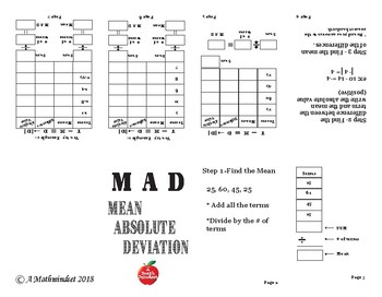 M A D Maze and Notes foldable (Mean Absolute Deviation)