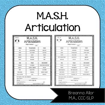 M.A.S.H. Articulation (Growing Packet)