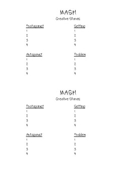 M.A.S.H. Creative Story Writing