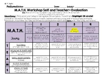 M.A.T.H. Center/Workshop Self & Teacher Rubric