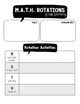 M.A.T.H. Rotations Planning Pages