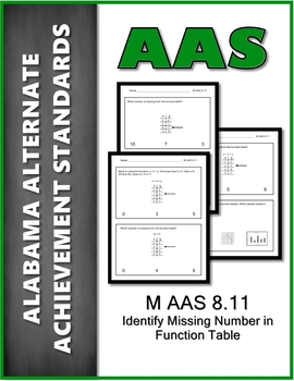 M.AAS.8.11 Function Tables Alabama Alternate Achievement Standard