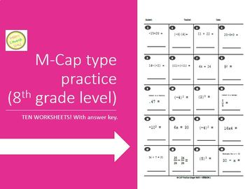 M-CAP Practice/Integer Math - 8th Grade level and up