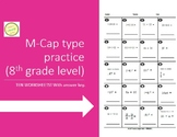 M-CAP Practice/Integer Math - TEN WORKSHEETS - 8th Grade level and up
