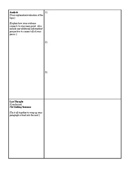 M.E.A.L. Paragraph Organizer, Detailed version