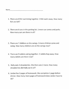 Addition/Subtraction Word Problems-Easy to read