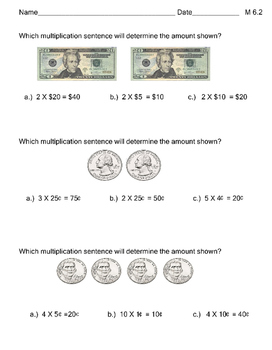 M 6.2 Extended Standard Multiplication Using Coins & Bills NEW AAA