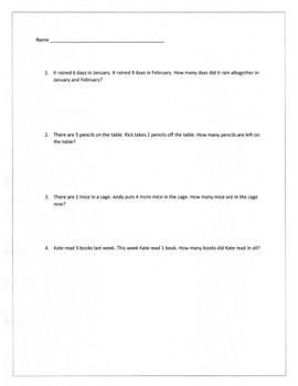 Easy addition/subtraction word problems