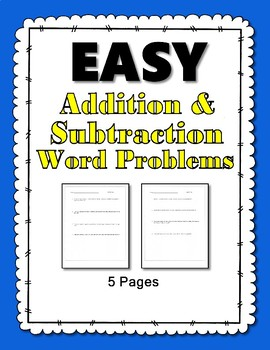 Simple addition/subtraction word problems