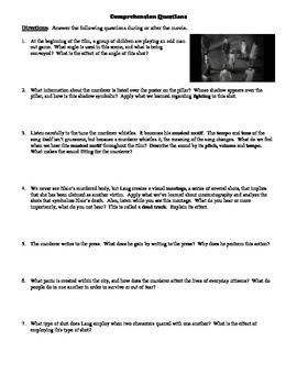 M Film (1931) Study Guide Movie Packet