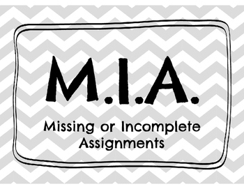 M.I.A. (Missing or Incomplete Assignments) Header