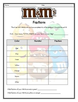 M&M Fractions activity